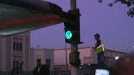 Stock Video Footage of Shuttle Endeavor crosses intersection worker checks clearance 4K