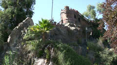 Santa Lucía Hill castle with waterfall in Santiago de Chile Stock Footage