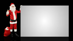 Santa Claus shaking bell presenting a white sheet, Alpha Channel Stock Footage