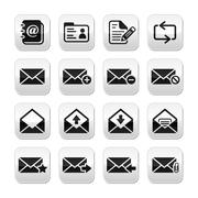 Email mailbox vector buttons set - stock illustration