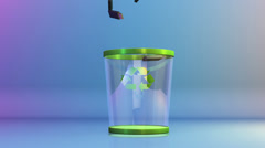 Recycle, USB falling into a Garbage Bin Stock Footage