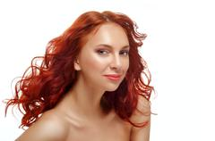 long curly red hair. fashion woman portrait. - stock photo