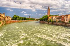 view over adige river in verona, italy - stock photo