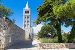 Historic old town of Rab City, Rab Island, Croatia - stock photo