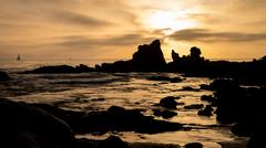 Corona del mar beach sunset Stock Photos