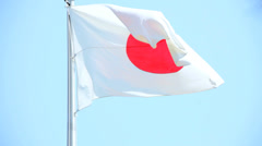 Japanese National Flag Hinomaru Patriotism Tokyo Japan Asia Stock Footage