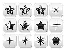 Stars christmas celebration vector buttons set - stock illustration