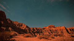 Stars timelapse over Red Rock Canyon Buttes to sunrise Stock Footage