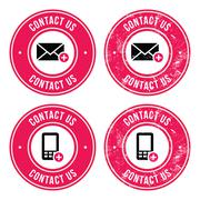 Contact us retro old labels with phone, email icon Stock Illustration