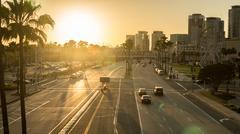 long beach city at sunset - stock photo