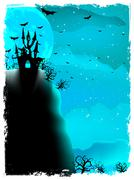 Halloween composition with horror house. EPS 10 - stock illustration