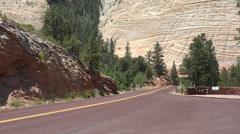 Checkerboard Mesa traffic Zion National Park HD Stock Footage