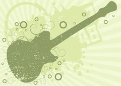 grunge guitar background - stock illustration