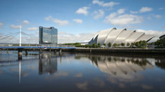 Bells bridge, crowne plaza hotel, the armadillo auditorium, glasgow, scotland Stock Footage