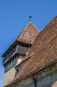 Detail of the fortified church in the romanian town of copsa mare Stock Photos