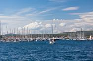 Stock Photo of yacht is entering in marina frapa, rogoznica, croatia