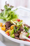 black pepper stir fried beef - stock photo
