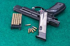 .22 pistol ammo pack magazine - stock photo