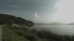 peaceful lake side Kawaguchi wide angle, non color grade Full HD (1920x1080) - stock footage