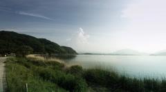 peaceful lake side Kawaguchi wide angle, color grade 4K (3840x2160) - stock footage