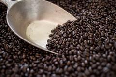 Coffee beans bag utensil Stock Photos