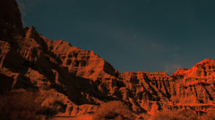 Amazing Pan of Red Rock Canyon Cliffs Timelapse at Night to Sunrise Stock Footage