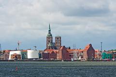 stralsund, sankt-nikolai-church, ozeaneum, harbor - stock photo