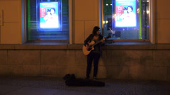 Female street singer Stock Footage