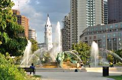 Fountain at Logan's Circle park Stock Photos