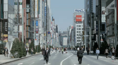 Ginza weekends pedestrian only zone dinning entertainment Tokyo - stock footage