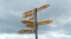 Sign of world distances at Cape Reinga Stock Footage