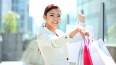 Happy Asian Japanese Woman Shopper Retail Commerce City Economy Growth - stock footage