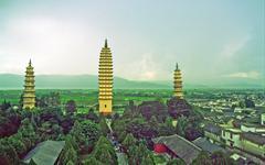 three famous pagodas in dali - stock photo