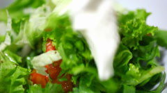 The addition of sour cream and mixing vegetable salad. Video macro Stock Footage