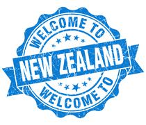 Welcome to new zealand blue grungy vintage isolated seal Piirros