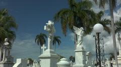 Angle statue at santa ifigenia cemetery,santiago de cuba Stock Footage