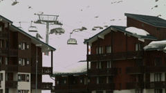 Tignes Val Claret chair lift Stock Footage