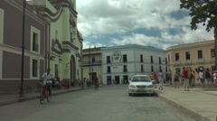 Typical street scene in cuba, city of camagüei Stock Footage