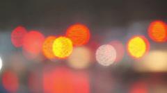 Defocused rain reflections of light. Stock Footage
