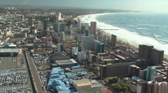 Aerial of Durban's beachfront and city Stock Footage