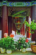 Ornamental passageway of palace in lijiang, china Stock Photos