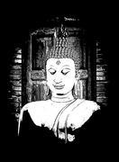 art  sculpture buddha,buddha statue - stock illustration