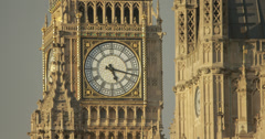 4K video of the famous clock face of Big Ben in Westminster, London Stock Footage