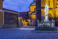 Night photo of st. john`s cathedral, wroclaw, poland Stock Photos