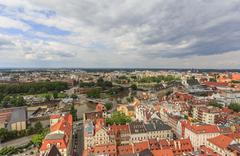 aerial panorama of wroclaw, poland in the direction of the odra rive - stock photo
