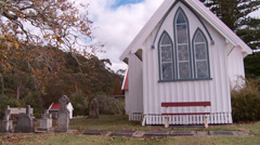 Historic St James church and cemetery in Kerikeri Stock Footage