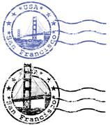 Shabby stamp with cityscape of san francisco and golden gate - sights of cali Stock Illustration