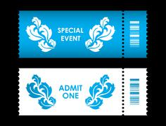 admit one ticket with special flower design - stock illustration