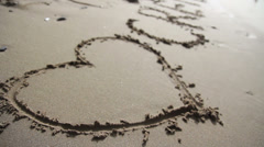 Inscription on the sand - I love crete Stock Footage