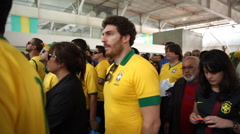 Supporters go to Arena Sao Paulo for the first game of World Cup 2014 Stock Footage